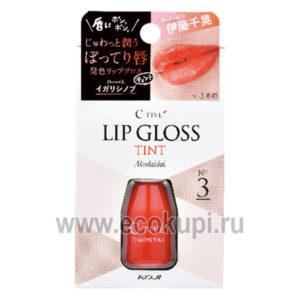 Японская увлажняющая губная помада – тинт с аппликатором красно-оранжевый KOJI HONPO C-Tive, купить молодежную и возрастную косметику для лица из Японии