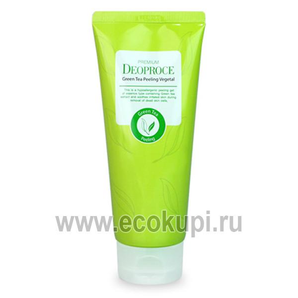 Пилинг скатка на основе зеленого чая DEOPROCE Premium Green Tea Peeling Vegetal, купитькорейская косметика, доставка и самовывоз по России Боксберри СДЭК