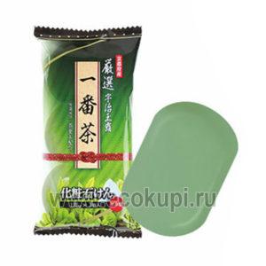 купить недорого японское мыло туалетное Зеленый чай MAX Soap, магазин японской гигиены для тела Экокупи, купить недорого ароматное экономичное мыло доставка