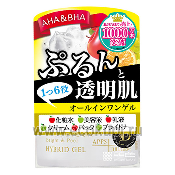 Японский гель для лица с AHA & BHA увлажнение и защита Meishoku AHA & BHA Hybrid Gel, косметика для лица Японии, купить тональный крем недорого, распродажи
