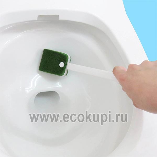 Японская жесткая губка для туалета с ручкой OH:E Toilet Brush недорого средство чистка ваннойунитаза купить, доставка заказа по России почтой Boxberry СДЭК