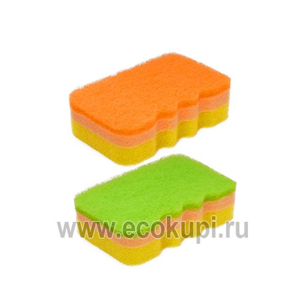 Японская губка для посуды трехслойная с эффектом образования обильной пены мягкий верхний слой Kikulon Awadasu Sponge Scouter Non Scratch