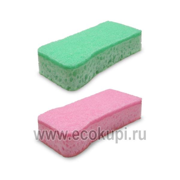 Японская губка для посуды двухслойная антибактериальная пропитка верхний слой средней жесткости Kikulon Slim Fit Sponge Scouter Non Scratch