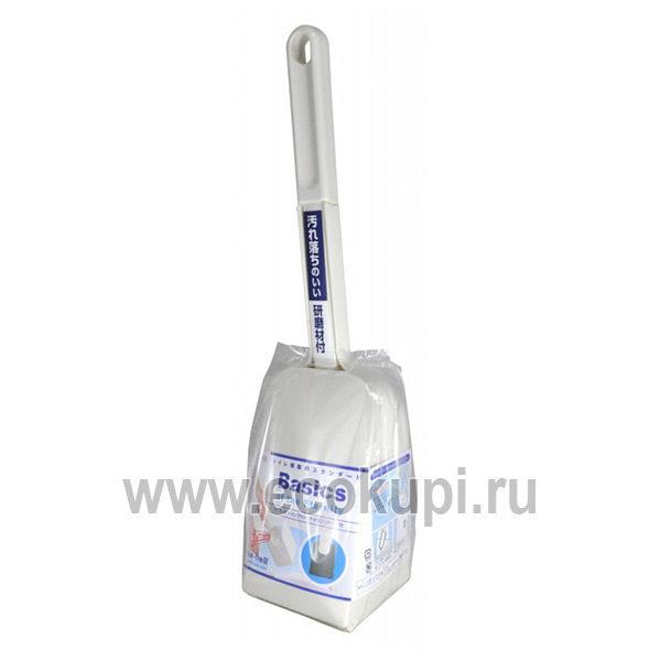 Японская жесткая губка для туалета с ручкой в боксе OH:E Toilet Brush With Neilon Case купить недорого средство чистка ваннойунитаза, отзывы клиентов акции