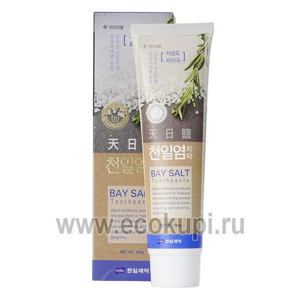 Корейская зубная паста с морской солью отбеливание и укрепление зубной эмали Hanil Bay Salt Toothpaste, купить товары гигиены рта изКореи со скидкой, акции