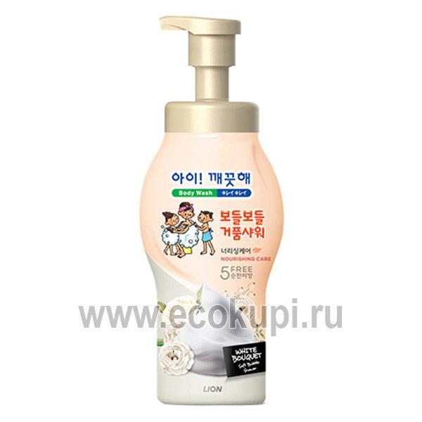 Корейская пена для душа питательная цветочный аромат CJ LION Ai Kekute Soap Flowers, купить жидкое мыло для тела, самовывоз из ПВЗ интернет магазин Экокупи