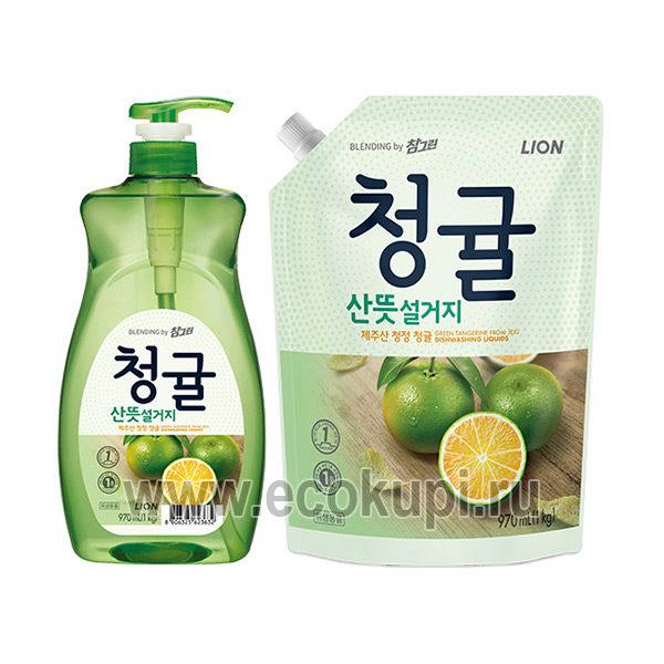 Корейское концентрированное средство для мытья посуды Зеленый цитрус CJ LION Chamgreen Lime, купить со скидкой моющие средства для посудомоечной машины