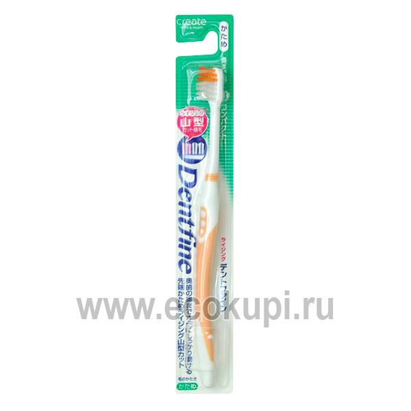 Зубная щетка с компактной чистящей головкой и щетинками разного уровня жесткая CREATE Dentfine Tapered, купить отбеливающая зубная паста