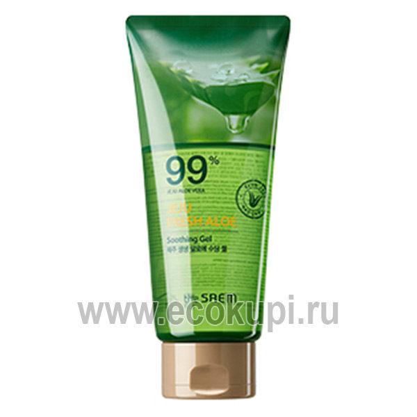 Гель для лица и тела с алоэ универсальный увлажняющий the Saem Jeju Fresh Aloe Soothing Gel 99%, интернет магазинкосметики Кореи, товары спа процедуры