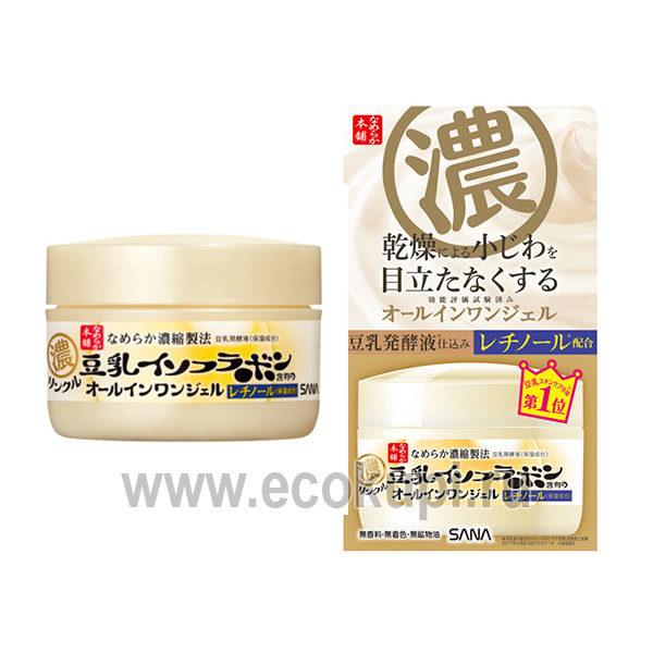 Японский крем – гель увлажняющий и подтягивающий с ретинолом и изофлавонами сои SANA Wrinkle Gel Cream, купить лифтинг крем для лица оптом и в розницу