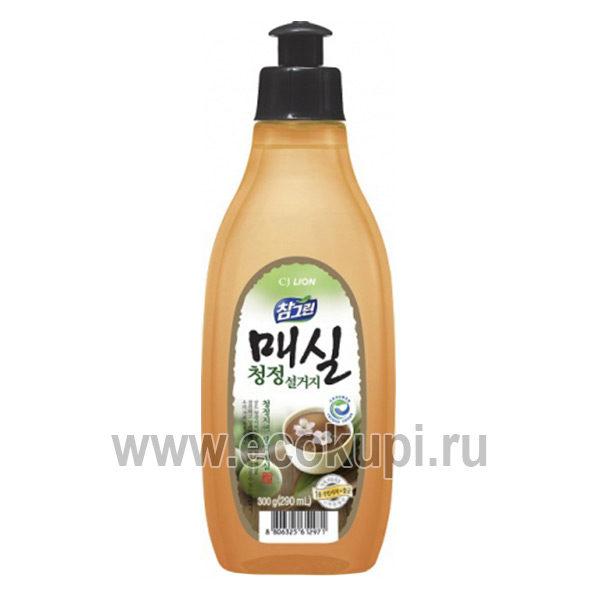 Корейское средство для мытья посуды овощей и фруктов японский абрикос CJ LION Chamgreen Apricot, купить моющее средство для посуды, товары из Кореи, акции