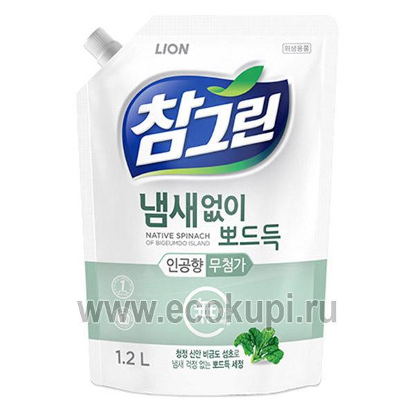 Корейское средство для мытья посуды концентрированное Свежий шпинат CJ LION Chamgreen Spinach, купитьантибактериальноесредство для посуды, новинки скидки