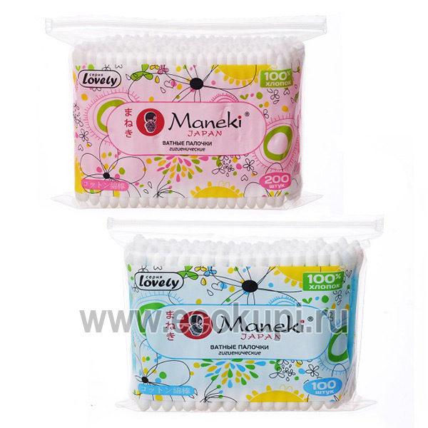 Японские палочки ватные гигиенические с пластиковым стержнем Maneki Lovely 100 шт в zip-пакете, купить ватные палочки, система разовых, накопительных скидок