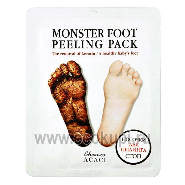Корейские носочки для пилинга стоп Futto Monster Foot Peeling Pack, купить крем для ухода за стопами и пятками, подробное описание, отзывы клиентов, скидки