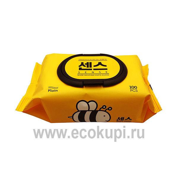 Корейские влажные салфетки с экстрактом алоэ вера и мёда Secret DaySense, интернет магазин средств гигиены для тела Кореи Китая Тайланда Японии в Москве