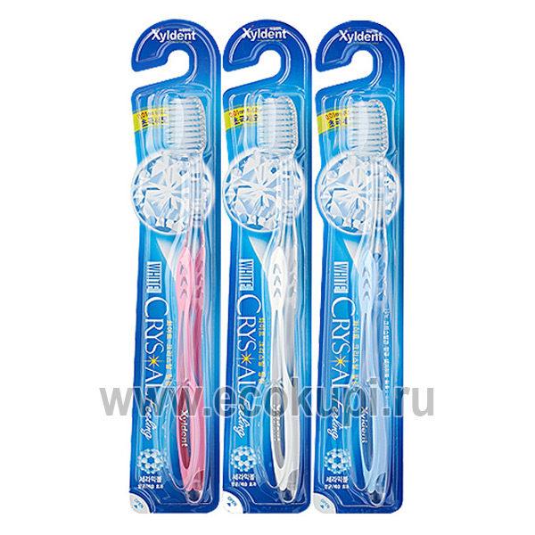 Корейская зубная щётка со сверхтонкими концами щетинок разной длины с анионами щетина средней жесткости Xyldent Crystal White паста профилактика парадонтоза