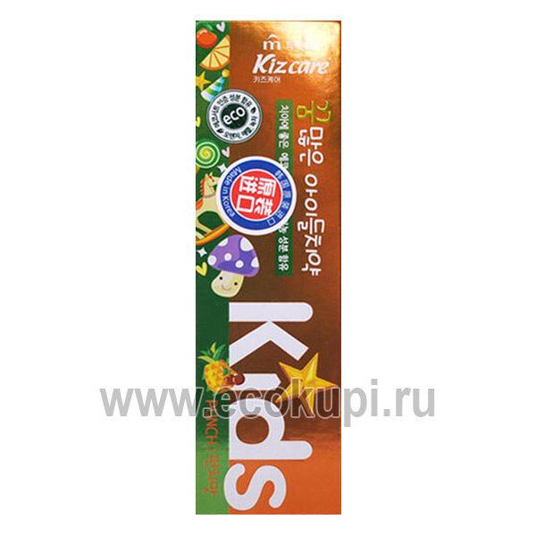 Корейская детская гелевая зубная паста с ярким тропическим вкусом Kiz care Kids Toothpaste Tropic Fruts, купить подгузники Японии Кореи детской гигиены