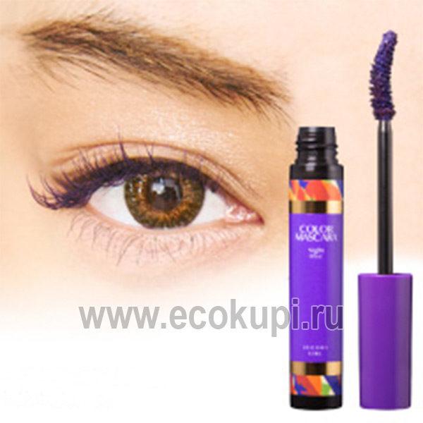Японская тушь для ресницобъеми удлинение цвет фиолетовый Decora Girl Color Mascara, купить жидкая подводка для бровей, интернет магазин средств макияжа