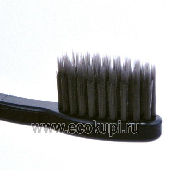 Корейская зубная щетка c изогнутой ручкой со сверхтонкой двойной щетиной средней жесткости DENTAL CARE Charcoal Toothbrush, купитьновая зубная паста скидки