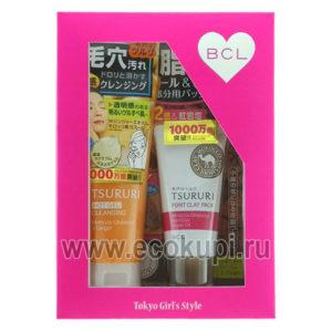 купить подарочный набор Очищение пор BCL Tsururi очищающий поры крем - гель + крем - маска для Т-зоны с глиной интернет магазин подарков акция