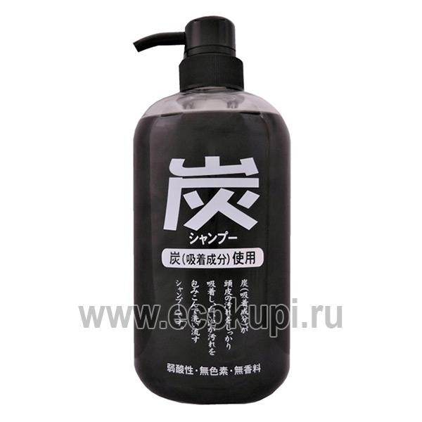 Японский шампунь для волос с древесным углём очищающий Junlove Charcoal Shampoo купить шампунь для волос без добавок магазин Экокупи Москва