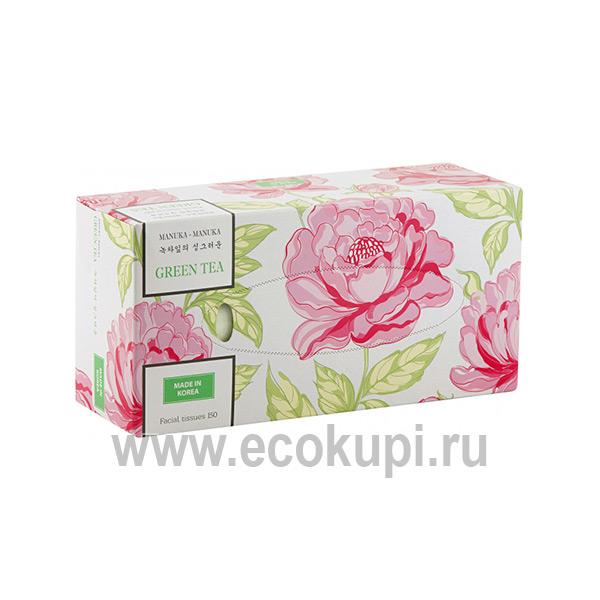корейские салфетки для лица с экстрактом зеленого чая Monalisa Manuka Manuka. интернет магазин товаров из Кореи. купить салфетки выдергушки для дома и офиса