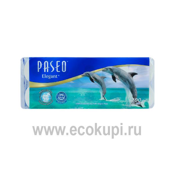 четырехслойная туалетная бумага с рисунком дельфина Paseo Dolphin купить салфетки полотенца платочки туалетная бумага магазин средств личной гигиены Экокупи