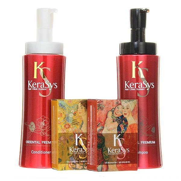 корейский подарочный набор №1 шампунь + кондиционер + косметическое мыло Kerasys Gift Set Oriental Premium, купить косметику в подарок в интернет магазине