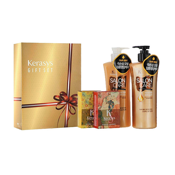 корейский подарочный набор №4 шампунь + кондиционер + косметическое мыло Kerasys Gift Set Salon Care купить премиум набор косметики интернет магазин Экокупи