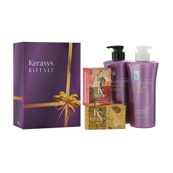 корейский подарочный набор №5 шампунь + кондиционер + косметическое мыло Kerasys Gift Set Salon Care Straightening, купить подарочный набор сниженная цена