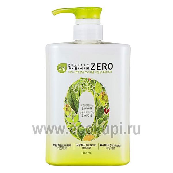 Корейское средство для мытья посуды Kerasys Soonsaem Zero, купить губки для кухни интернет магазин Экокупи качественного бытовую химию Кореи Японии в Москве
