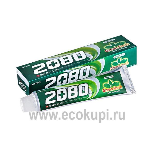 Корейская зубная паста для всей семьи зеленый чай с мятным вкусом Kerasys Dental Clinic 2080 Green Fresh, купить зубную пасту с микрогранулами, распродажи