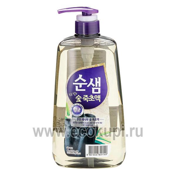 Корейское средство для мытья посуды бамбуковый уголь Kerasys Soonsaem Bamboo Charcoal, купить крем очиститель от подгаров и жиров самовывоз из ПВЗ по России