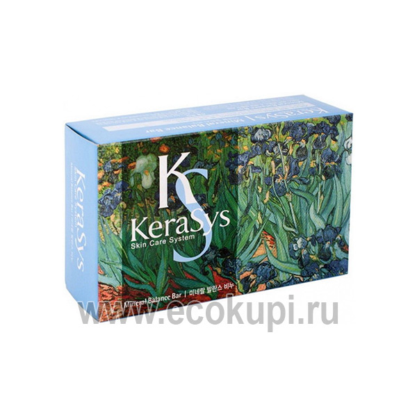 корейское мыло косметическое с морскими минералами Kerasys Mineral Balance Bar, купить со скидкой мыло для умывания, интернет магазин товаров Кореи и Японии