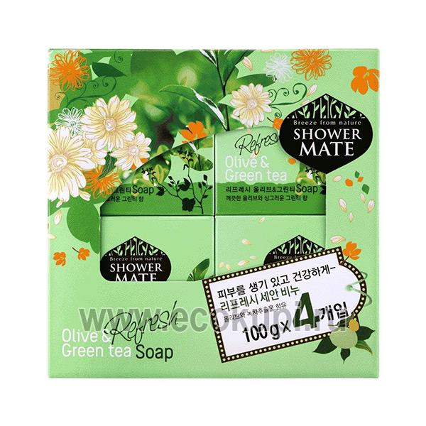 Набор корейского освежающего мыла оливки и зеленый чай Kerasys Shower Mate Refresh Olive & Green Tea Soap, купитьмыло для тела жидкое Кореи Тайланда Японии