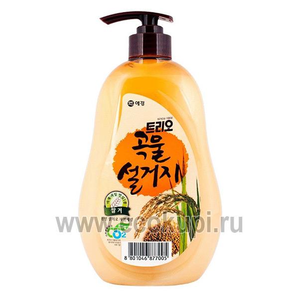 Корейское средство для мытья посуды рисовые отруби Kerasys Trio Rice Bran, купить губка для мытья посуды износостойкая, удобные условия доставки и оплаты
