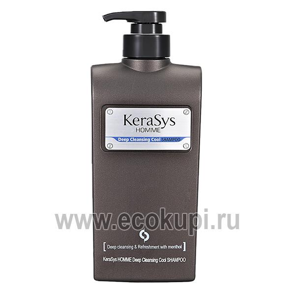 корейский шампунь освежающий для мужчин все типы кожи головы и волос Kerasys Homme Deep Cleansing Cool купить со скидкоймужскую косметику для головы Москва