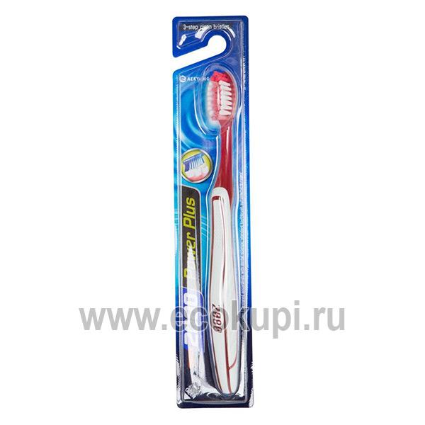 Корейская зубная щетка эффективная чистка средняя жесткость Kerasys 2080 Clean Action, купить зубную пасту отбеливающего действия выгодная цена и распродажи