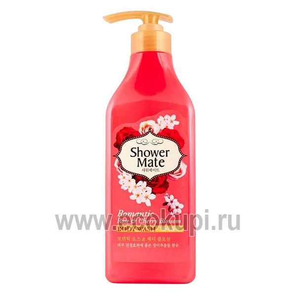 Корейский ароматный гель для душа роза и вишневый цвет Kerasys Shower Mate Body Wash Romantic Rose & Cherry Blossom, купить натуральные мочалки для тела