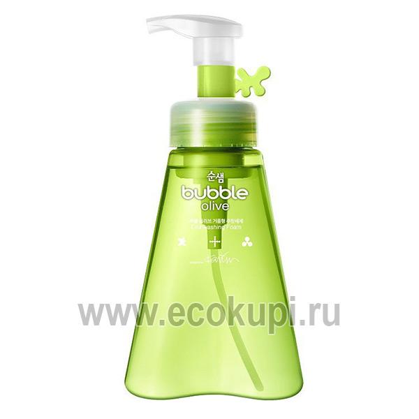 Корейская пенка для мытья посуды оливки Kerasys Soonsaem Bubble Olive, купить губка для посуды, самовывоз Боксберри СДЭК из пунктов выдачи заказов в Москве