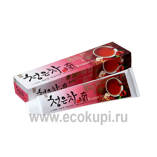 Корейская гелевая зубная паста для здоровья десен восточный красный чай Kerasys Dental Clinic 2080 Cheong-en-cha Ryu купить отбеливавшие зубные пасты скидки