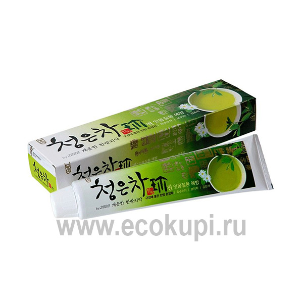 Корейская гелевая зубная паста для здоровья десен восточный чай Kerasys Dental Clinic 2080 Chungeun Cha Gum Care купить зубную пасту профилактическую скидки