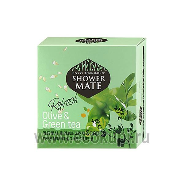 Корейское освежающее мыло оливки и зеленый чай Kerasys Shower Mate Refresh Olive & Green Tea Soap, купитьжидкоемыло для тела, доступные средства гигиены