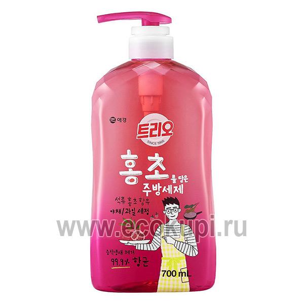 Корейское средство для мытья посуды гранат Kerasys Trio Red Vinegar Dishwash, купить средство для посуды овощей и фруктов, самовывоз Сочи Чита Нижнешахтинск