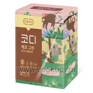 недорого купить бумажные салфетки двухслойные Животные Codi Ecogreen интернет магазин товаров Кореи Японии купить салфетки в коробке для дома.
