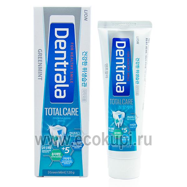 Корейская зубная паста комплексного ухода с ароматом прохладной мяты CJ LION Dentrala Total Care Green Mint купитьэффективную зубную пасту со скидкой акции