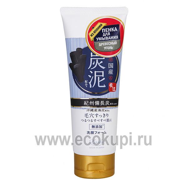 Японская пенка для умывания с древесным углем COSMETEX ROLAND, купить уголь древесный по недорогой цене участвующую в акции интернет магазин Экокупи Москва