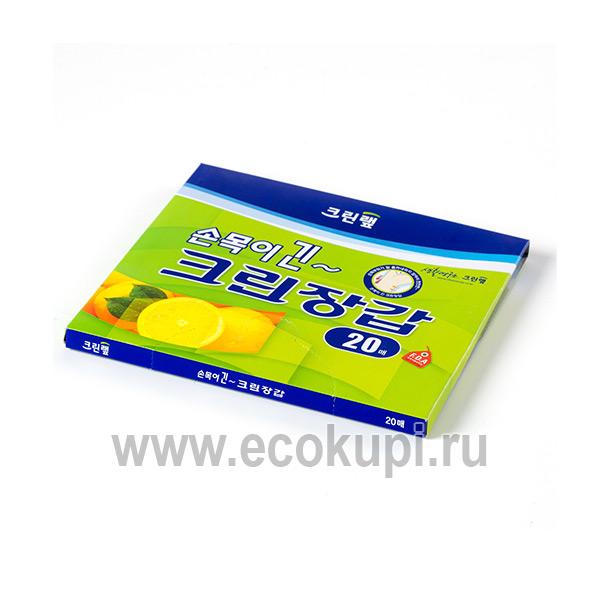 Корейские перчатки одноразовые полиэтиленовые удлиненные Inaus, купитьперчаткинитриловые латексные хозяйственные, интернет магазин хозяйственных товаров