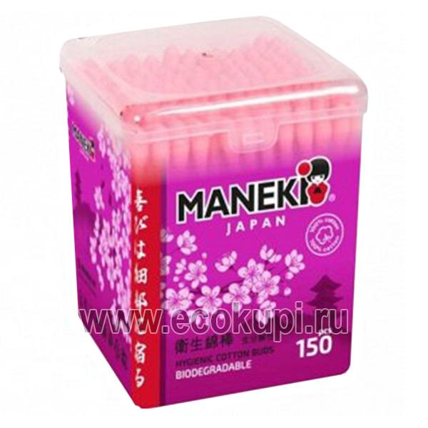Японские палочки ватные гигиенические с розовым бумажным стержнем Maneki Lovely, купить недорого ушные ватные палочки, подробное описание, отзывы клиентов