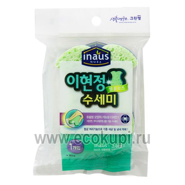 Корейская губка для мытья посуды из целлюлозы с нейлоновым покрытием Рыбка Inaus, купить чистящаягубка жесткая, подробное описание, отзывы клиентов, акции